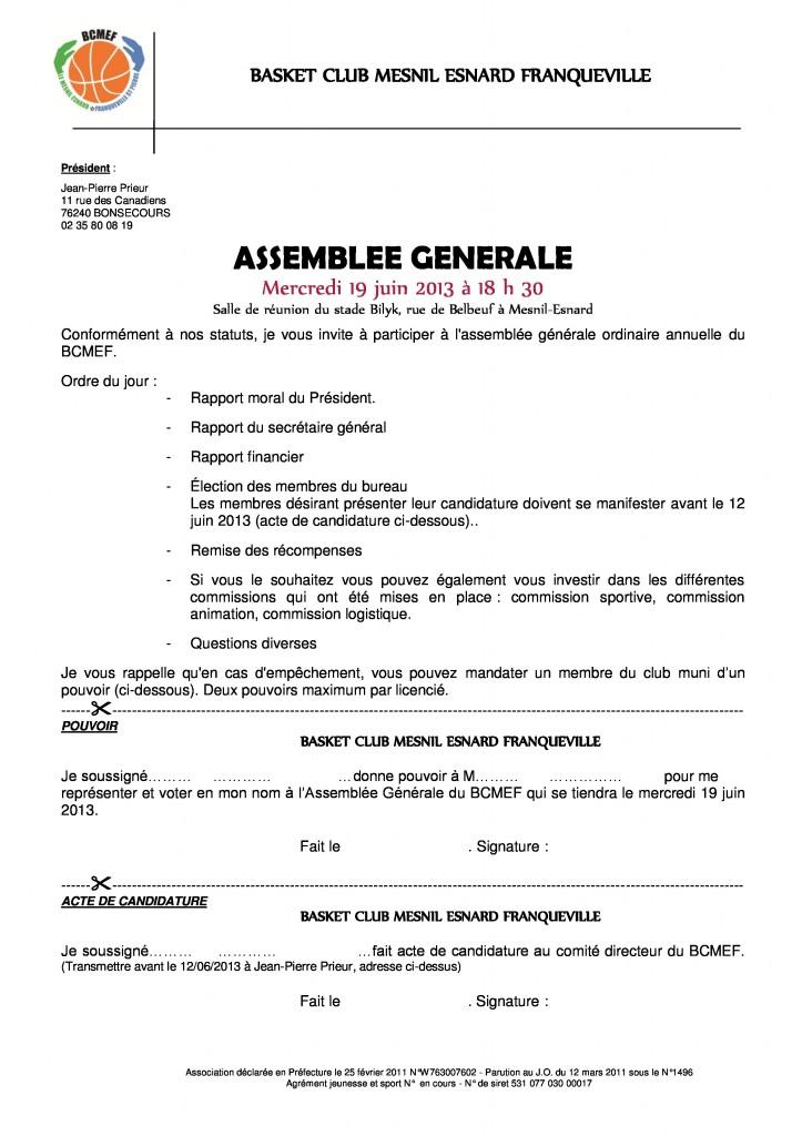 Convocation AG 19 juin 2013 du BCMEF