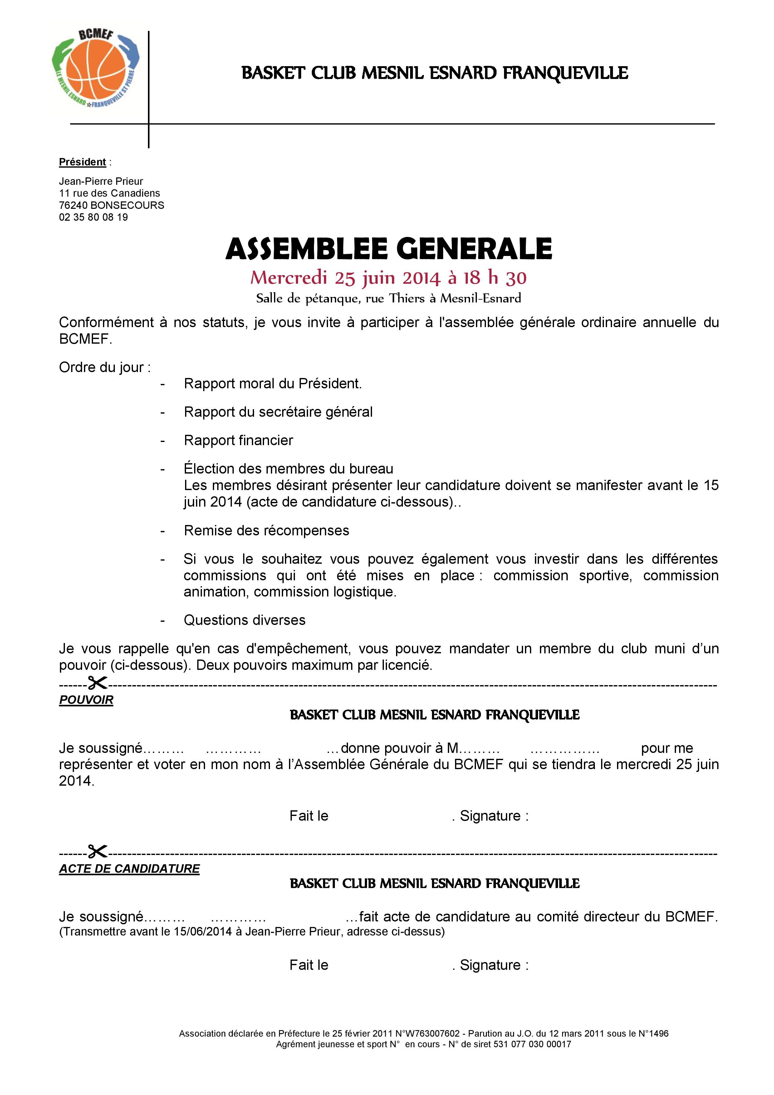 Convocation AG 25 juin 2014 du BCMEF