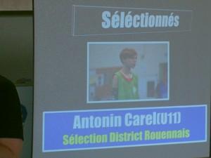 """Sélectionné en """"Sélection U11 du District Rouennais"""": Antonin Carel U11(1)"""